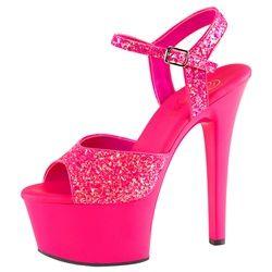 Glitter Neon UV High Heels Plateau Sandalette in den Größen 35 - 45
