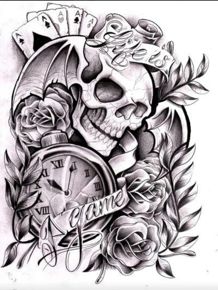 Skulls, cards, pocket watch