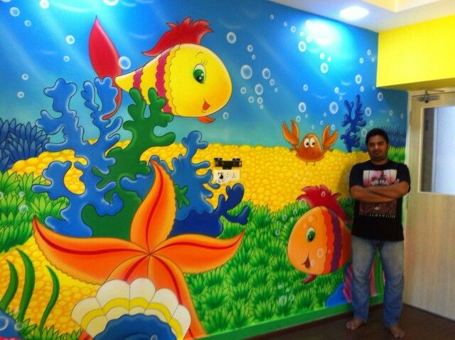 Now painting is final aquarium themed wall painting fully for Fish tank paint