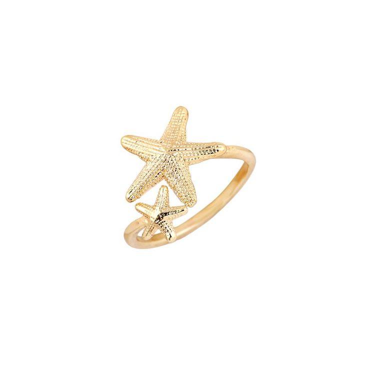 2016 Nova Moda Anel Aberto Trecho Anel Estrela Twinkle EY-R165 Náutico Praia Starfish Anel para Presentes de Aniversário Das Mulheres