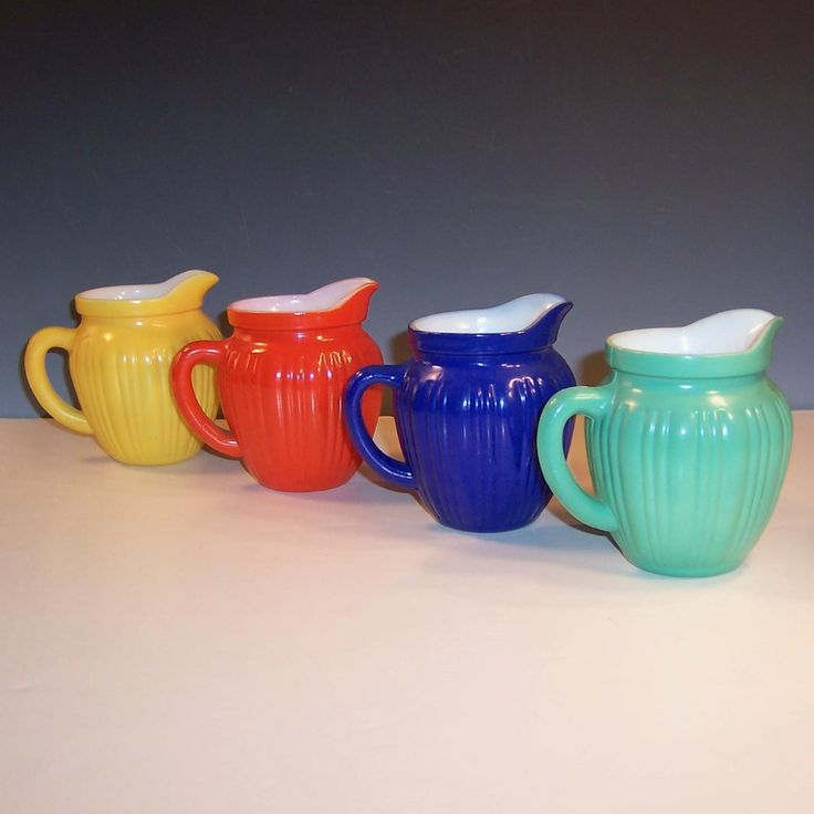 Complete Set of FOUR Hazel Atlas Gay Rainbow Milk Pitchers from ruthsredemptions on Ruby Lane