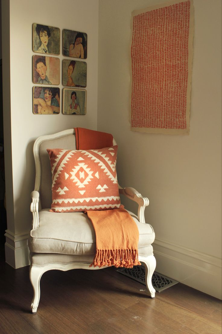 Aztec Copper Cushion and Copper Duck Weave Throw