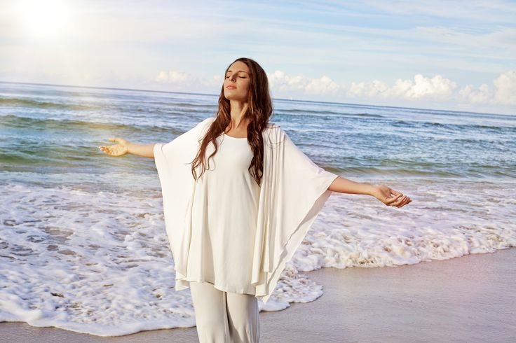 Bodypeace bamboo clothing. palazzo pants and wrap in cream. www.bodypeacebamboo.com