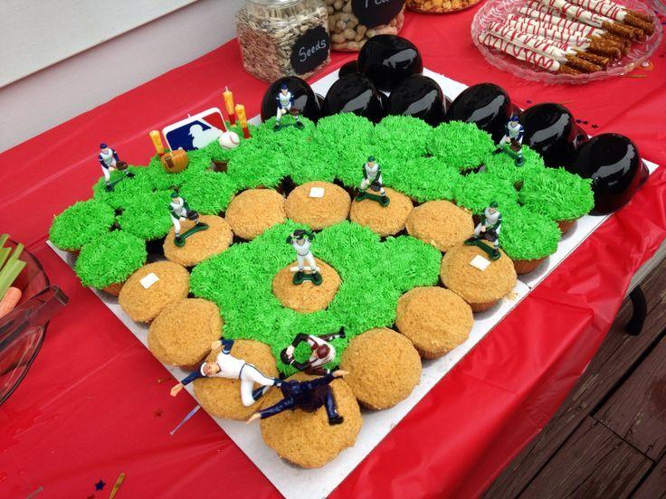 baseball field cupcake cake