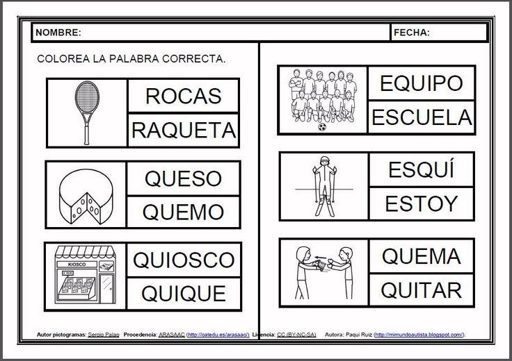 MATERIALES - Fichas de lectoescritura - Q.    Fichas para el aprendizaje de la lectoescritura en letra mayúscula.    http://arasaac.org/materiales.php?id_material=983