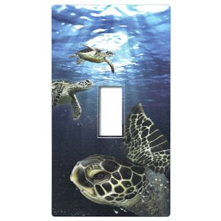Turtle Max Reptile Gifts :: - Turtles, Sea Turtles :: Home Decor Turtles :: Swimming Sea Turtles Light Switch Cover Sticker