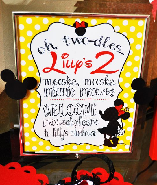 "Photo 18 of 42: Mickey Mouse Clubhouse or Minnie Mouse / Birthday ""Oh Twodles Lilly is 2"" 