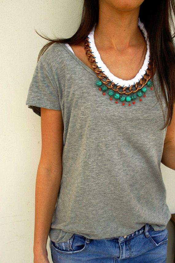 statement chain necklase with brass chain, white cotton cord, turquoise  and  orange beads.....