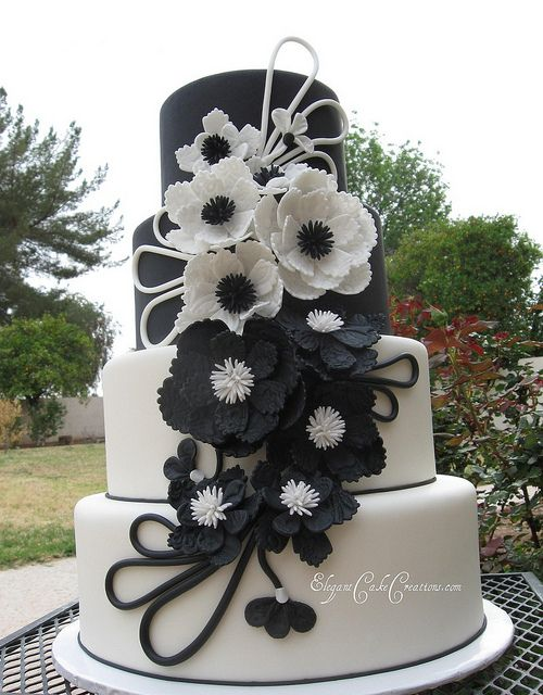 Modern Black & White Wedding Cake - The Leather and Lace Cake by Elegant Cake Creations AZ, via Flickr