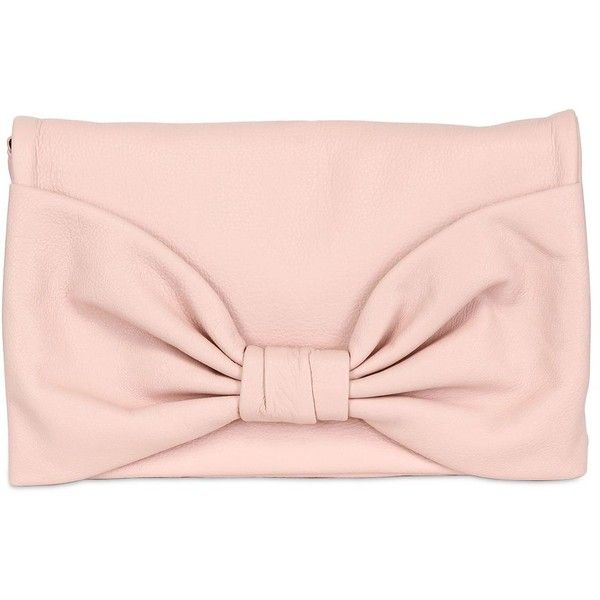 RED VALENTINO Bow Soft Leather Clutch (7,840 MXN) ❤ liked on Polyvore featuring bags, handbags, clutches, purses, accessories, bolsas, nude, leather handbags, pink handbags and leather clutches