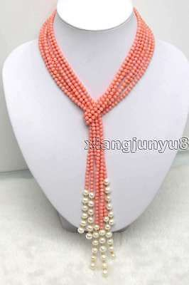SALE 47 inch (120CM) 3 Strands 4.5mm Pink Coral And White Pearl Necklace -ne9207
