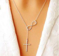 Новый 2015 Прекрасный Chic Бесконечность Крест Длинной Серебряной Цепочке Кулон Ожерелья Для Женщин Ювелирные Изделия Подарок