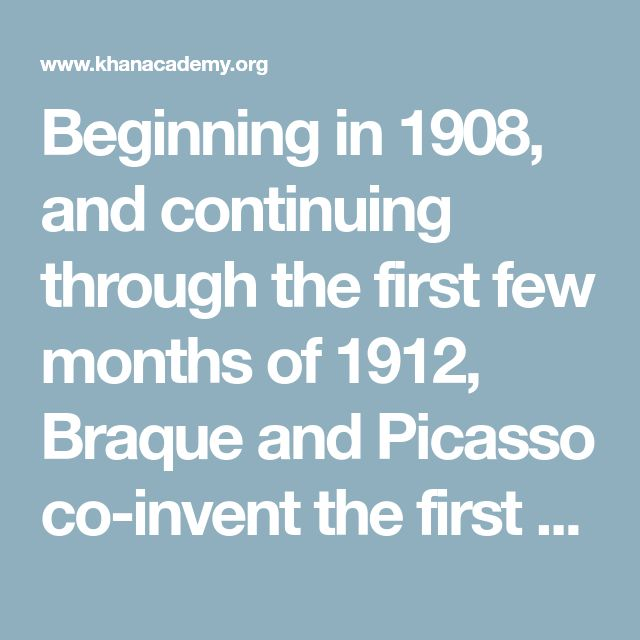 Beginning in 1908, and continuing through the first few months of 1912, Braque and Picasso co-invent the first phase of Cubism. Since it is dominated by the analysis of form, this first stage is usually referred to as Analytic Cubism. But then during the summer of 1912,  wanders into a hardware store, and there he purchased some oil cloth printed with a fake wood grain. That pattern drew his attention because he was at work on a Cubist drawing of a guitar, and he was about to render the…