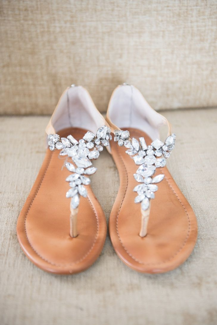 Neutral Crystal-Detailed Wedding Sandals | Mikkel Paige Photography https://www.theknot.com/marketplace/mikkel-paige-photography-new-york-ny-428077 |