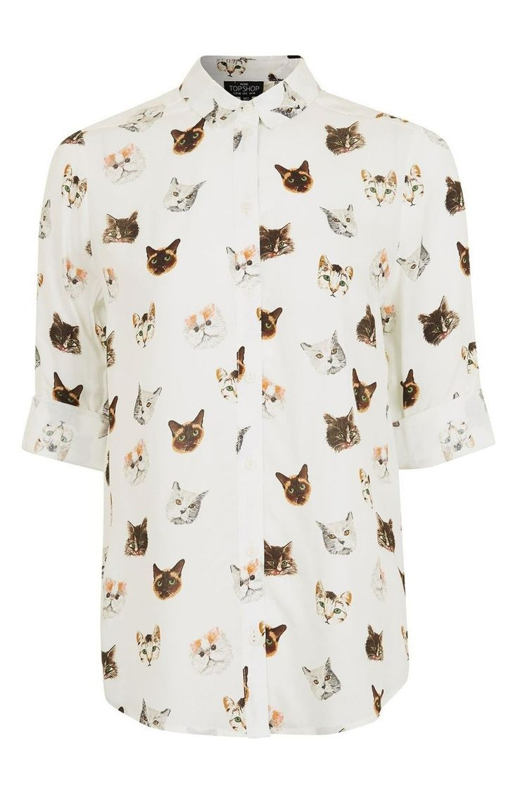 Purrfect your cat-lady status with a light and drapey button-up shirt covered in feline portraits.