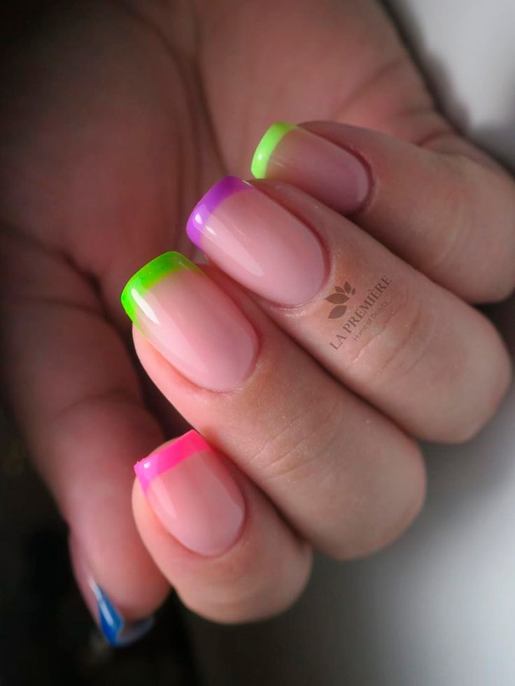 Short squared neon multicolor French tip nails 2020 idea ...