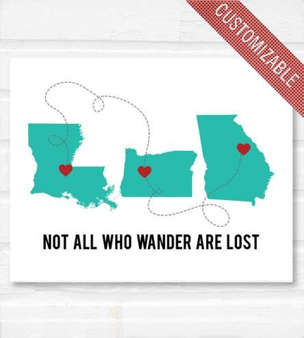 """Perfect for those who have moved around. Love! """"Not All Who Wander Are Lost"""" Personalized Print by Paperfinch"""