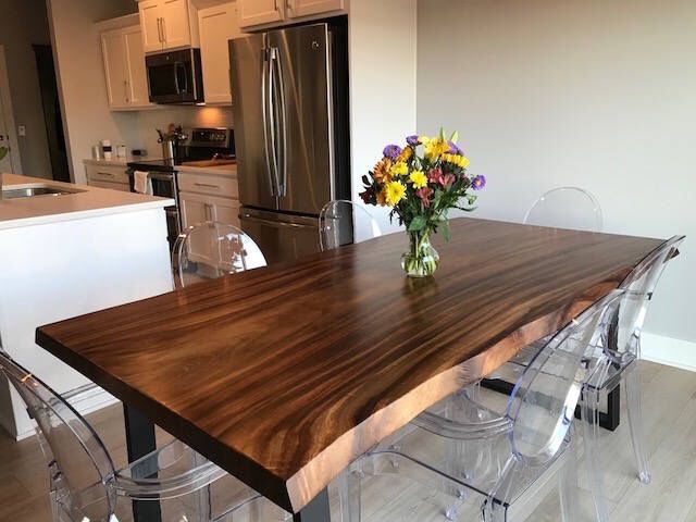 Live Edge Dining Table Made In A Modern Rustic Finish With Black