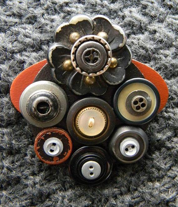 "Art Assemblage Brooch -  ""Flower Button""  -  Found Object Jewelry  http://www.etsy.com/shop/redhardwick"