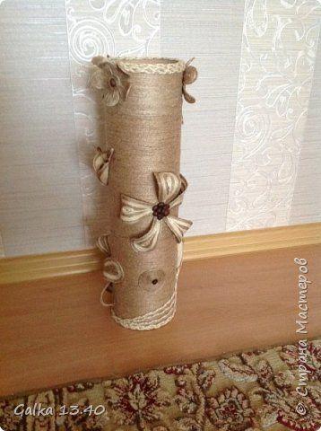 Поделка изделие Моделирование конструирование Шпагатная ваза в подарок Шпагат фото 1