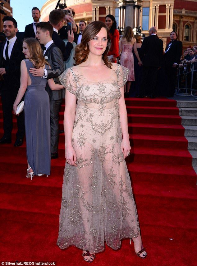 Brave choice: Ruth Wilson sported a totally sheer dress which showed off her Bridget Jones knickers as the Best Actress nominee arrived at the Olivier Awards in London on Sunday