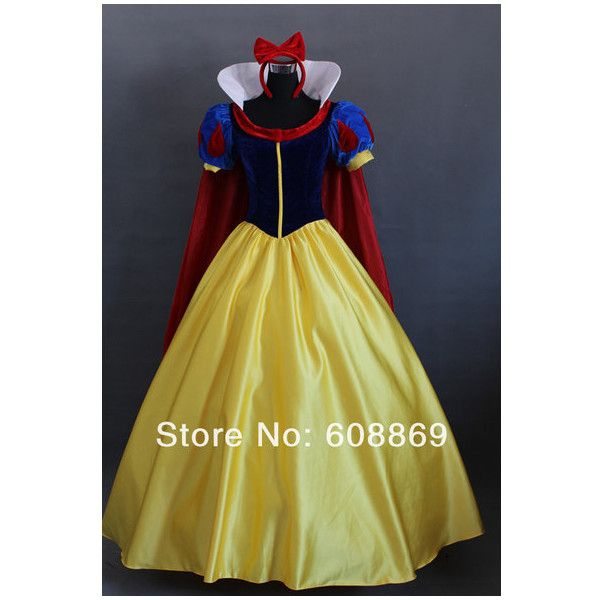 Disney Disneyland Princess Snow White Custom Made to Order Plus Size... (1.120 BRL) ❤ liked on Polyvore featuring costumes, dresses, disney, costume, plus size snow white costume, princess costume, role play costumes, plus size womens costumes and princess halloween costumes