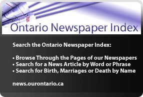 Ourontario.ca Online archives featuring information from small collections which was previously unavailable to the public.