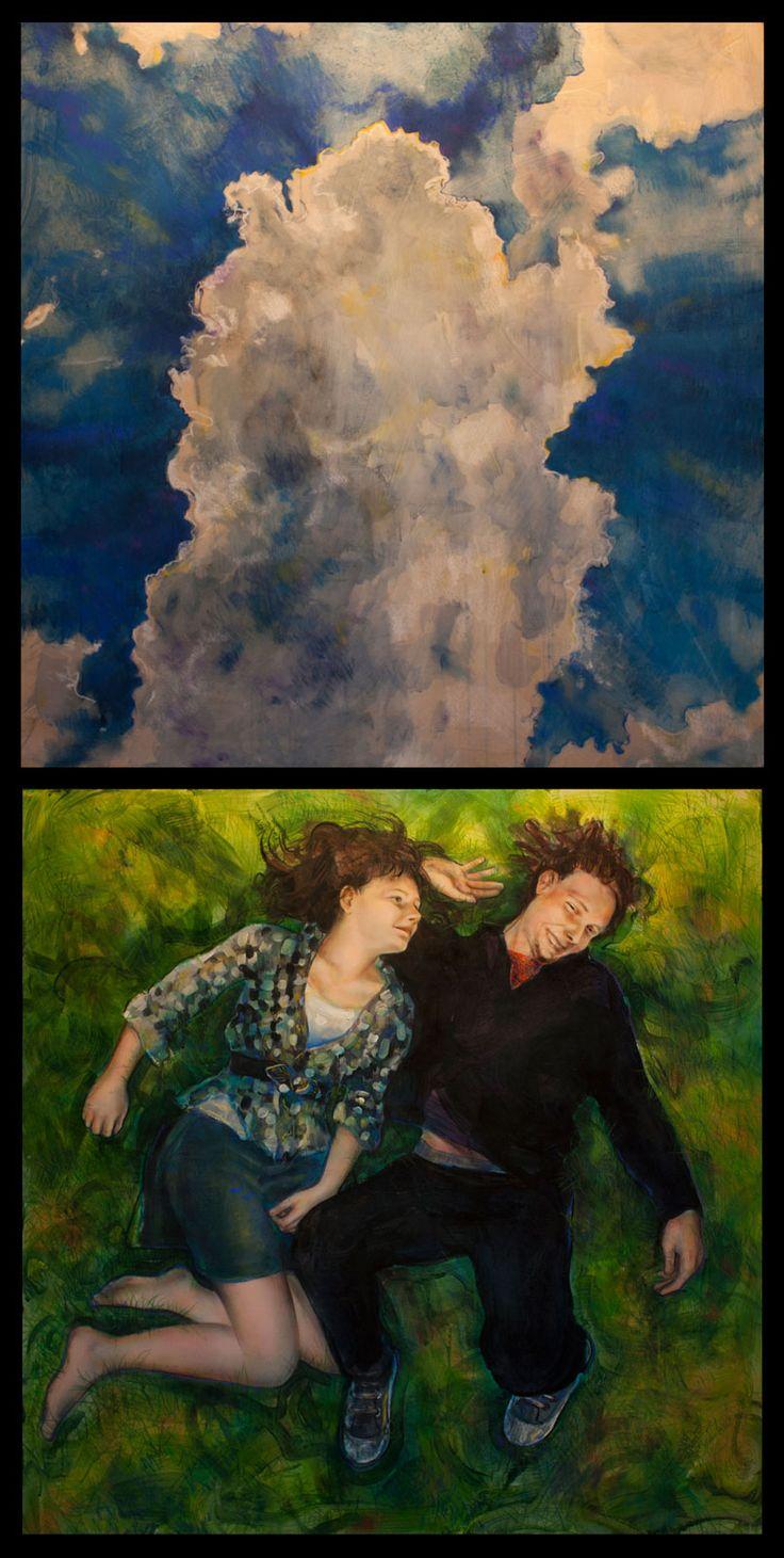 """""""Nasza przestrzeń"""" dyptyk, technika mieszana na płycie. #art #painting #heaven #friendship #brother #sister"""