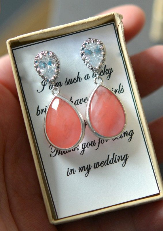 Peach Earrings, Coral Earrings, Pink Bridesmaid jewelry Drop Earrings Wedding Bridal Dangle Earrings Bridal Jewelry Bridesmaid Gift , stud on Etsy, $35.99