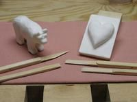 Soap carving with popsicle stick knives...