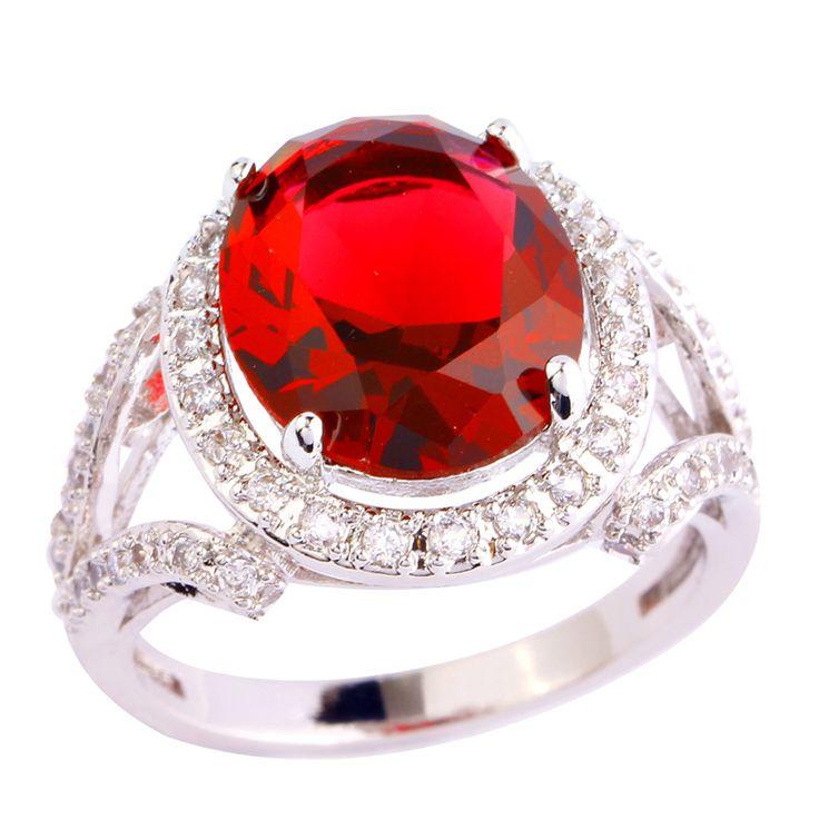 Aaa Cz лаборатория новинка ювелирные изделия сублимационное красный гранат 18 К белый позолоченный серебряное кольцо размер 10 женщины бесплатная доставка оптовая продажа