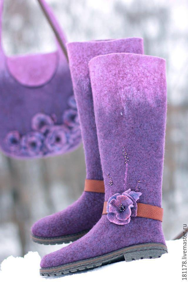 """Купить Валенки """"Фея Сирень"""" - фиолетовый, сиреневый, фиалковый, лиловый, аметист, лесная тема"""