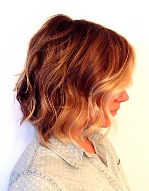 Short Blonde and Red Ombre Wavy Hair
