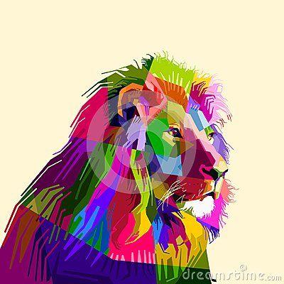 Lion wildlife animal cartoon pop art drawing colorful collection wallpaper artwork vector geometric envisage illustrations design potrait background popart jungle