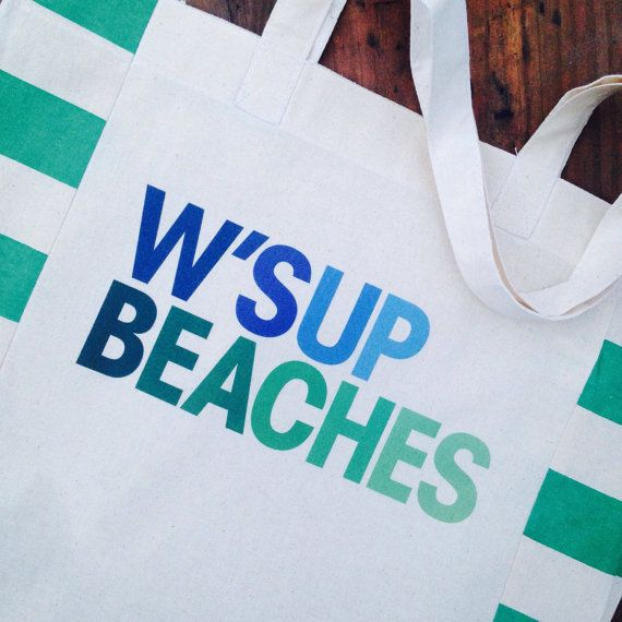 W'sup Beaches Market Tote Bag Beach Tote Pun by SheSellsFairhope