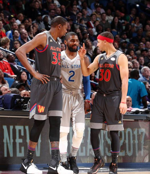Kevin Durant of the Western Conference AllStars Stephen Curry of the  Western Conference AllStars and Kyrie Irving of the Eastern Conference  AllStars.