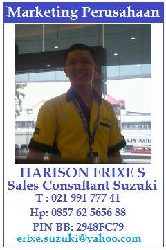 Kontak Kami - harisonsuzuki.com Untuk pembelian Mobil Suzuki Splash varian City Car Modern Bergaya Eropa yang cocok dikendarai, dipakai oleh para anak-anak muda yang bersemangat tinggi. Info Sales, Harison Erixe (OCON) 081296537555 Website. https://harisonsuzuki.com