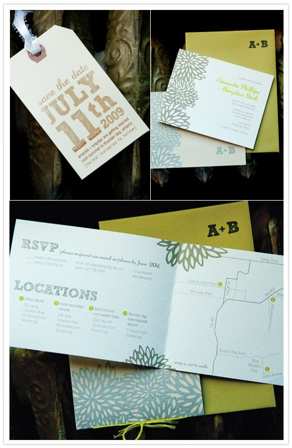 gocco gold invites.  on it.  and email or call rsvp - brilliant