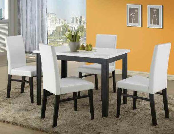Debora White Faux Marble Top Black Finish Dining Table Set