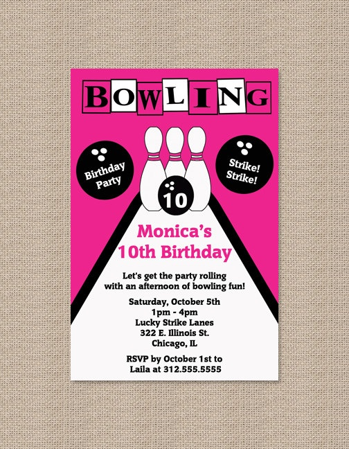 8 best Bu0027day party ideas images on Pinterest Birthdays, Birthday - bowling invitation
