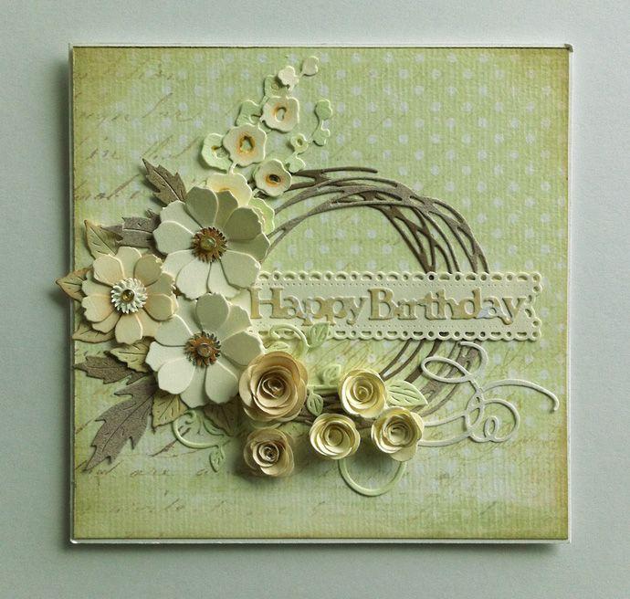 Card spring wreath (Rayher), rolled flowers (MFT), flower & leaves, fishtail banner (Cherry Lynn), IO hollyhocks, swirls flourish, scripty words & letters