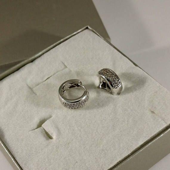 Creolen Ohrringe Silber 925 Kristallsteinchen Glitzer SO284