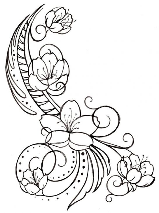 Coloring Pages Of Le Blossoms : Beautiful doodle art of cherry blossom coloring page for