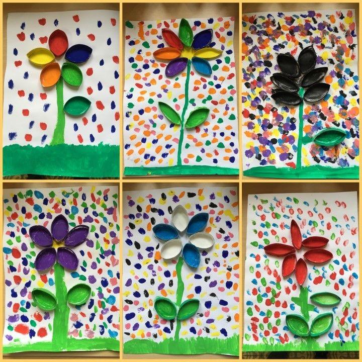 FLORS - Material: paper, pintura, pinzell, rotllos cartró, cola - Nivell: 2PRIM CI 2015/16 Escola Pia Balmes