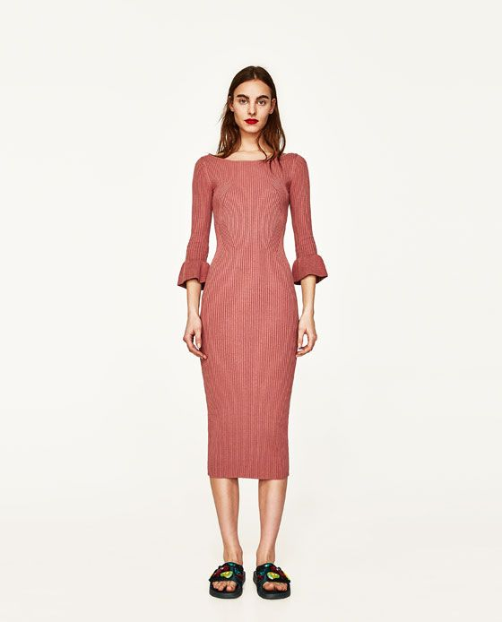 Image 1 of RIBBED DRESS WITH FLARED CUFFS from Zara 39.90