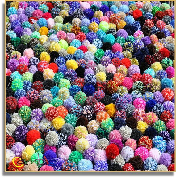 20 Mixed Pom poms Ready to Ship #Pompoms #HomeDecor #MixedPomPoms