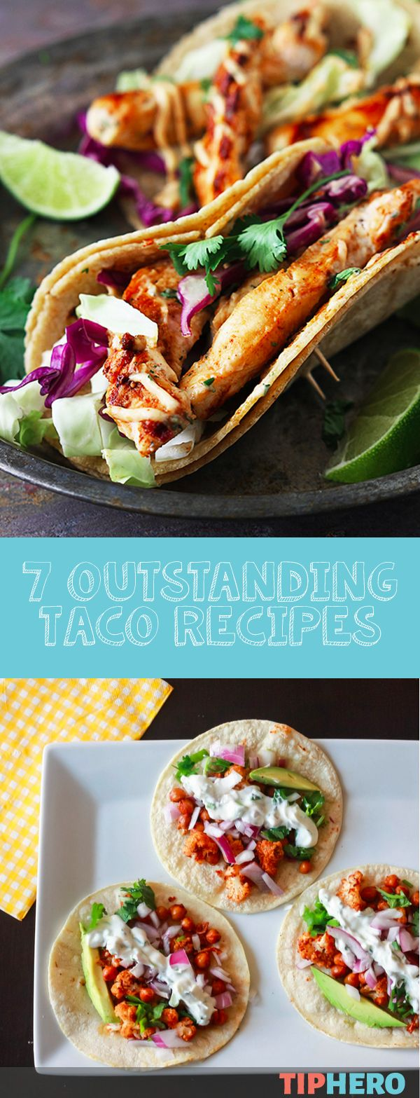 7 Taco Recipes | Add some spice to your taco night with these flavor filled tacos.   Sink your teeth into Jamaican Jerk Chicken, Roasted Cauliflower and Chickpea, Cilantro Lime Potato tacos and more! Mm-mm. #dinner #family #easymeals