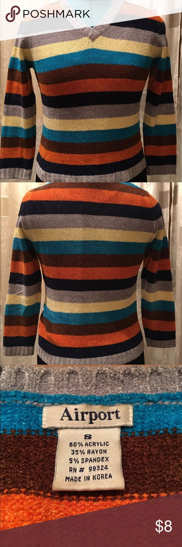 Airport Clothing Co. Multicolored Striped Sweater Super soft multicolored striped sweater. Gently worn, and in great condition. Made of acrylic, rayon, and spandex. Airport Sweaters V-Necks