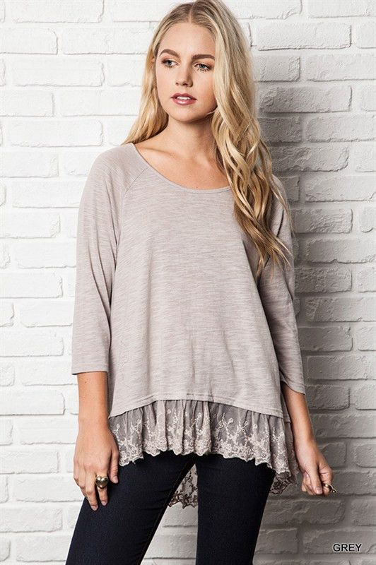 Hem Laced 3/4 Sleeve Top (2 colors available) from Gypsy Outfitters -  Boho Luxe Boutique