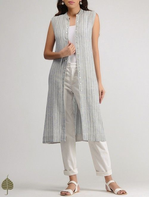 White-Blue Striped Organic Cotton Jacket by Jaypore
